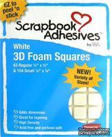 Объемные клеевые квадратики 3L Scrapbook Adhesives - 3D Foam Squares Assorted White, 217 штук, объемные, белые