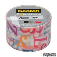 Бумажный скотч от 3M Scotch - Expressions Washi Tape - Alphabet Soup, 30ммх10м