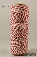 Хлопковый шнур от Baker's Twine - Red, 2 мм, цвет красный/белый, 1 м