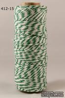 Хлопковый шнур от Baker's Twine - Green, 2 мм, цвет зеленый/белый, 1 м