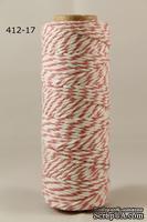 Хлопковый шнур от Baker's Twine - Seafoam, 2 мм, цвет розовый/белый, 1 м