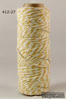 Хлопковый шнур от Baker's Twine - Yellow, 2 мм, цвет желтый/белый, 1 м