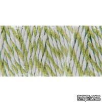 Хлопковый шнур от Baker's Twine - Celery, 2 мм, цвет салатовый/белый, 1 м