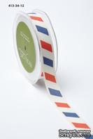 Хлопковая принтованная лента т May Arts - Ivory canvas - красная, синяя,белая, ширина - 19 мм, длина 90 см