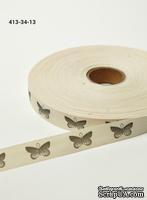 Хлопковая принтованная лента с бабочками от May Arts, ширина - 19 мм, длина 90 см