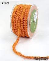 Тесьма с помпонами Mini Pom Pom, размер 10 мм, цвет оранжевый, 90 см