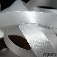 Атласная двусторонняя лента White, цвет белый, ширина 15 мм, длина 90 см