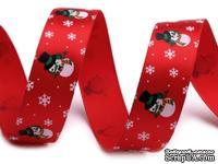 """Сатиновая лента """"Снеговик"""", ширина 18 мм, цвет: красный, салатовый, красный,длина 90 см"""