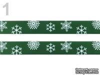 """Сатиновая лента """"Снежинки"""", ширина 16 мм, цвет: зеленый,длина 90 см"""