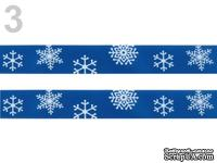 "Сатиновая лента ""Снежинки"", ширина 16 мм, цвет: голубой,длина 90 см"