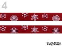 """Сатиновая лента """"Снежинки"""", ширина 16 мм, цвет: красный,длина 90 см"""