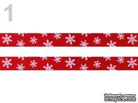 """Сатиновая лента """"Снежинки"""", ширина 10 мм, цвет: красный,длина 90 см"""