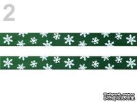 """Сатиновая лента """"Снежинки"""", ширина 10 мм, цвет: зеленый,длина 90 см"""