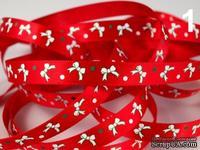 """Сатиновая лента """"Бантики"""", ширина 10 мм, цвет: красный,длина 90 см"""
