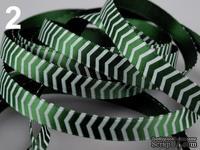 Сатиновая лента Полоска, ширина 10 мм, цвет: зеленый,длина 90 см