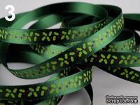 """Сатиновая лента """"Листочки"""", ширина 10 мм, цвет: салатовый, зеленый, красный,длина 90 см"""