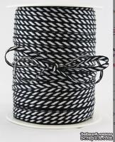 Лента от May Arts - Solid/Diagonal Stripes Black, цвет черный/белый, ширина 3 мм, длина 90 см