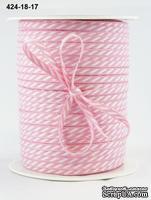 Лента Solid/Diagonal Stripes, цвет розовый/белый, ширина 3 мм, длина 90 см