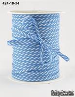 Лента Solid/Diagonal Stripes, цвет голубой/белый, ширина 3 мм, длина 90 см