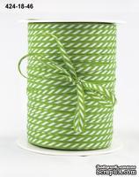 Лента Solid/Diagonal Stripes, цвет салатовый/белый, ширина 3 мм, длина 90 см