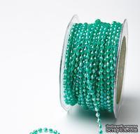 Нить с бусинкам от May Arts - TEAL GREEN, 4 мм, цвет зеленый, длина 90 см