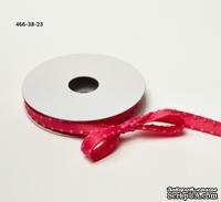 Сатиновая лента с узловатой кромкой - ярко-розовая, ширина - 10 мм, длина 90 см