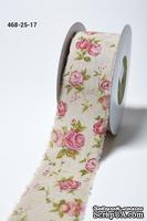 Лента - Vintage Inspired Print Pink Floral - розовая, ширина - 64 мм, длина 90 см