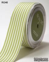 Лента CELERY/WHITE STRIPES, цвет светло-зеленый/белый, ширина 3,8см, длина 90 см - ScrapUA.com