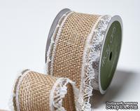 Лента из мешковины с кружевом Wired burlap w/ Lace Edge  Natural, ширина 3.8 см, длина 90