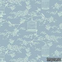 Ткань Tilda - Birdcage T C Blue 100 % хлопок, 50х55 см