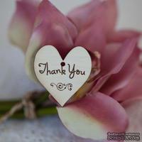 Сердечко деревянное: thank you, 3х3,3см - ScrapUA.com