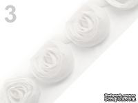 Лента с цветами Vanilla Custard, ширина 70 мм, цвет белый, длина 30 см