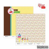 Бумага для скрапбукинга от ROSA TALENT - Cake delicious 1, двусторонняя, 30х30см, 200г/м2