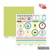 Бумага для скрапбукинга от ROSA TALENT - Cake delicious 6, двусторонняя, 30х30см, 200г/м2