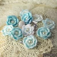 ЦЕНА СНИЖЕНА! Тканевые цветочки  от Prima -   Blue Ice - Audrey Rose Collection, 10 шт.