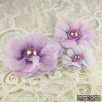 ЦЕНА СНИЖЕНА! Тканевые цветочки  от Prima -   Dora -  Millinery Collection, 3 шт.
