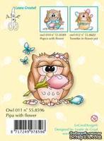 Акриловый штамп от LeCreaDesign - Clearstamp Owlie´s Owl011 Pipa with flower - Сова с цветочком