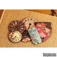 ЦЕНА СНИЖЕНА! Набор деревянных украшений Prima - Часы и билетики - Wood Clocks & Tickets Rosarian