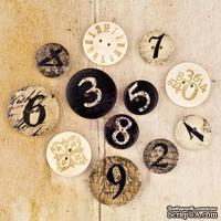 ЦЕНА СНИЖЕНА! Набор деревянных украшений-пуговиц Prima - Wood Buttons - Engraver