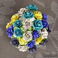 Набор объемных цветов Prima -  Mulberry Paper Flowers Mini Sachet - Bluejay