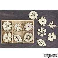 Набор деревянных украшений Prima - Цветы и листики - Wood Icons in a Box Flowers Leaves