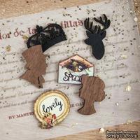 ЦЕНА СНИЖЕНА! Деревянные украшения Prima - Wood Icons - Cigar Box Secrets, 24 штуки