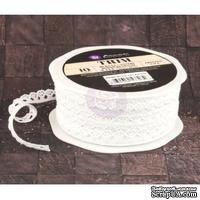 Вязаное кружево Prima - Lace Trim - Frosted, цвет белый, 90 см