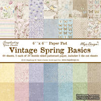 1/2  Набора бумаги для скрапбукинга от Maja Design - Vintage Spring Basics - Paper Pad, 15х15 см, 30 листов