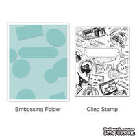 Папка для тиснения + Штамп от Sizzix - Textured Impressions Embossing Folder w/Stamp - Postage & Frame Set