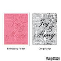 Папка для тиснения и резиновый штамп от Sizzix - Textured Impressions Embossing Folder w/Stamp - Joy & Merry Set
