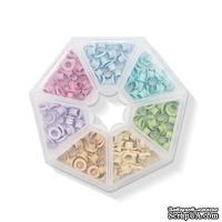 Набор люверсов с контейнером от WeR Memory Keepers – Pastel, 140 шт., 7 цветов