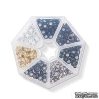 Набор люверсов с контейнером от WeR Memory Keepers – Metallics, 140 шт., 7 цветов