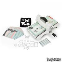 Машинка для вырубки и тиснения Sizzix Big Shot Machine White & Gray, бело-серая (с платформой и пластинами, набором кардстока и отрезом ткани MLH), стартовый набор