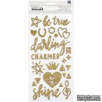 Стикеры с золотым глиттером  от Crate Paper - Shine Thickers Stickers- Beautiful Words & Icons/Gold Glitter, 79 шт.